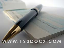 Cheque Book & Pen Photo Image