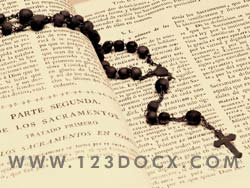 Christian Bible and Rosary Photo Image