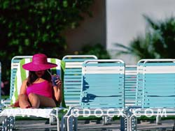 Sunbathing by the Pool Photo Image