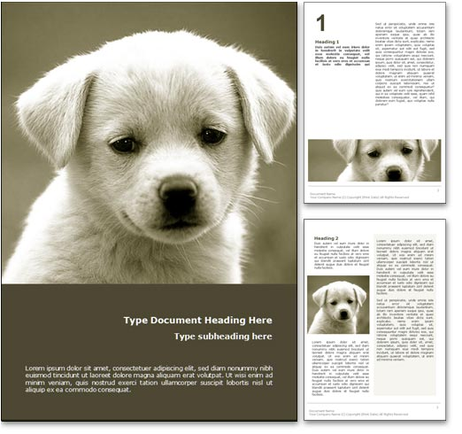 Puppy Dog word template document