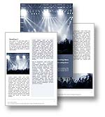The Concert Word document in blue shows a live concert performance infront of a cheering audience at a music festival, concert hall, arena or venue. The Concert Microsoft Word template is the perfect Word template for any music industry report, online music document, music newsletter or music concert publication. 