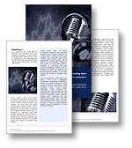 The Music Studio Word Template in blue shows a music recording studio with microphone and headphones. In the background a sound waveform can be seen with speakers to represent the audio recording and mixing in the music studio. The Music Studio Microsoft Word Template is the perfect Word Template Design for any sound engineer paper, music producer journal, music studio document, singer performance, recording studio publication, recording artist report, music fan magazine, streaming music brochure, talent review or music newsletter.