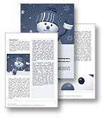 The Frosty The Snowman Word Document Template in blue shows Frosty The Snowman waving and smiling. The snowman is a symbol often used at Christmas time to represent winter and Christmas and is often used in children Christmas songs and Christmas school plays as as Christmas parades. Frosty tell the story of a snowman magically brought to live by a group of children and is the perfect Microsoft Word Template design for every Christmas magazine, Christmas newsletter, Christmas store brochure, Christmas sales report, Letter to Santa, Christmas publication, Christmas school play and Christmas song book.