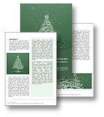 The Christmas Word Template in red shows a graphic illustration of a Christmas tree, decoratred with twinkling stars and surrounded by falling snow. The Microsoft Christmas Word Template is the ideal Word Template for any Happy Holidays greeting, Yuletide document, Joyeux No�l newsletter, Weihnachten report, Navidad publication or Christmas brochure.