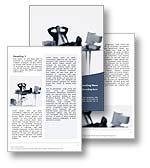 The Outsourcing Word Template in blue shows a successful businessman sitting back in his chair with his feet on his desk enjoying success. The Outsourcing Microsoft Word Template design is the perfect Word Template for any office brochure, promotion review, career journal, success pamphlet, work publication, risk management report, offshoring document or outsourcing newsletter.