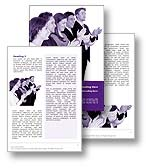 The Microsoft Word Training template in purple shows a group of successful business men and women applauding and giving applause with a standing ovation. The Microsoft Training Word document template is the perfect document template for any coach, life coach, accomplishment, achievement, online courses, e-learning document, coaching report, success newsletter or training publication.