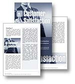 The Customer Satisfaction Word Template in blue shows a businessman selecting a virtual  Customer Satisfaction button as if to recommend the company and customer service as a satisfied customer. Customer Satisfaction is one of the Key Performance Indicators (KPIs) of businesses today as it provides indications of customer loyalty, willingness of customers to recommend as well as customer feedback of expectations and company performance. The Customer Satisfaction Microsoft Word Template is the perfect Word Template for any customer survey, customer retention report, customer recommendation, company performance review, customer loyalty newsletter, customer feedback, business guide, customer expectations magazine, Key Performance Indicators document, customer satisfaction brochure and customer service annual report.