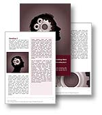 The Think Microsoft Word Template in red shows a silhouette of a mans head with a cross section showing gears and cogs to illustrate the workings of the brain and of the mind. The Think Word Template is the ideal Microsoft Word Template design for any intelligence report, smart publication, ideas newsletter, creative brochure or IQ paper, intelligent journal or problem solving document.