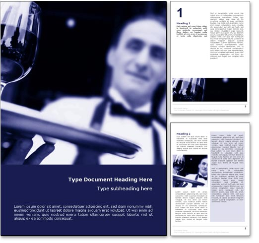 Waiter Serving Wine word template document