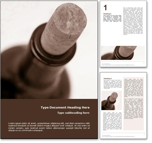 Wine Bottle word template document