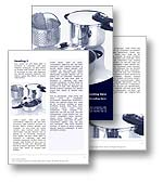 The Cooking Word template in blue shows a selection of saucepans, casserole dishes, frying pan, and collandar. The Cooking Microsoft Word template is the ideal Word template for any kitchen, chef, food, cuisine cookery document, catering report or cooking publication.