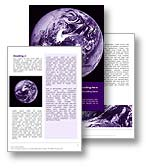 The Planet Earth From Space Word template in purple shows the earth from outer space. The Planet Earth From Space Microsoft Word  template is the perfect document template for any planet, solar system, space report, future document, or earth publication.