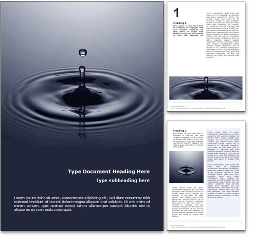 Water Drop word template document