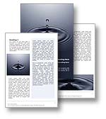 The Water Drop Word Template in blue shows a drop of water hitting the surface of water and creating a splash, water drop and ripple. The Water Drop Microsoft Word Template Design is the perfect Word Template for any consultant, consultancy invitation, marketing report, sales review, business document, strategy publication or corporate brochure. 