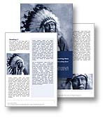 The Native American Word Template Design in blue shows an Indian Chief in full eagle-feather warbonnet. The Native American Word Template is the perfect Microsoft Word Template Design for any red indian, Apache Indian, Sioux Indian, Cherokee Indian, native tribe, cowboys and indians document, American Indian publication, Native American report, American History or American Heritage brochure. 