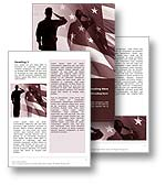 The Patriot Word Template in red shows a marine in the United States Marine Corps saluting his commanding officer beside the American flag and Star Spangled banner. The Patriot Word Template respresents the honor, respect and courage that armed forces, war veterans and military personnel show their commanding officers and allegiance to the American Flag. The Patriot Word Template is the perfect Word Template design for any military booklet, war on terror report, patriotism magazine, war veteran newsletter, soldier pamphlet, armed forces brochure, military documents, commanding officer review and patriot publications.