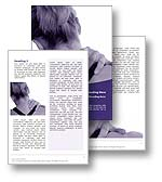 The physical therapy word template in purple shows a woman holding her shoulder and neck in chronic pain. The physical therapy microsoft word template is the perfect word template for any physiotherapy newsletter, arthritus publication, injury report, shoulder pain document, medical brochure or physical therapy publication.