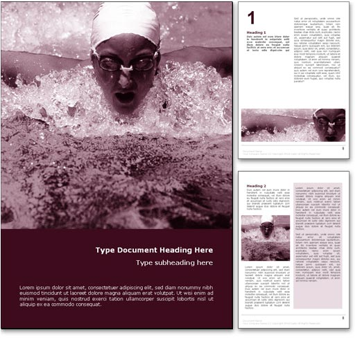 Swimming word template document