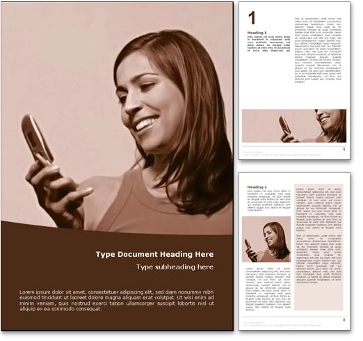 Girl with Mobile Cell Phone word template document