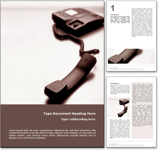 Telephone word template document