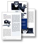 The Cyber Crime Word Template in blue shows a cyber criminal gaining access to a users account and credit card details online. The Cyber Crime Word document template is the perfect Microsoft Word Template Design for any phising, online theft, internet trojan virus, security software brochure, hackers review, identifty theft publication, online fraud document or interent security report. 