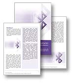 The Bluetooth Word Template in purple shows the Bluetooth symbol which is used on all bluetooth devices to indicate bluetooth connectivity and bluetooth features. The Bluetooth Microsoft Word Template Design is the perfect Word Template for any bluetooth device, cell phone report, mobile phone review, wireless network publication wireless communication document or bluetooth brochure.