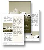 The Sydney Opera House Australia Word Template in yellow shows the Sydney Opera House, a UNESCO World Heritage Site and iconic architectural concert hall. The Sydney Opera House Australia Microsoft Word Template is the perfect Word Template design for any performing arts review, Australia report, Australian tourism review, opera newsletter, New South Wales publication, concert invitation or Sydney Opera House brochure.